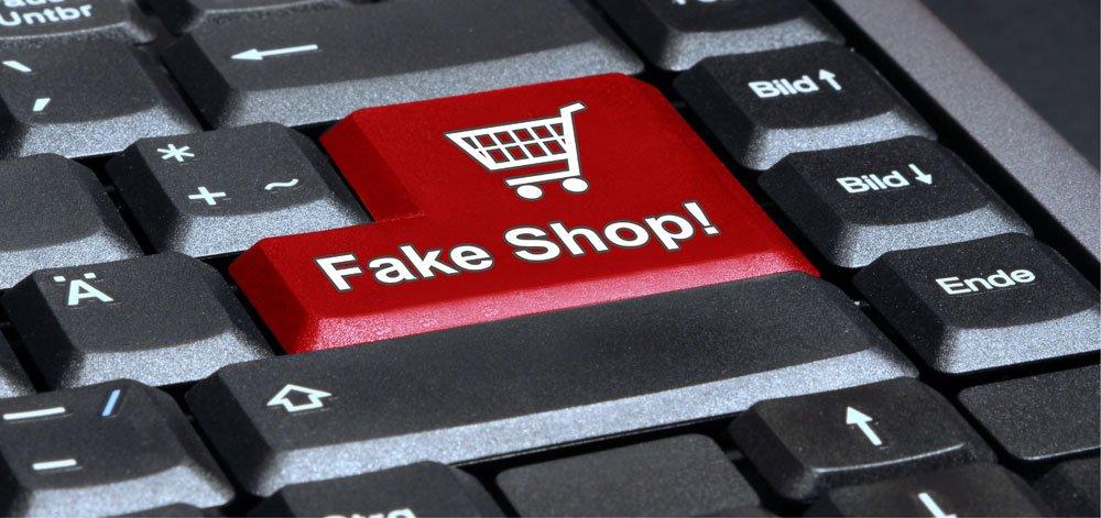 Computer-Tastatur mit Fake Shop